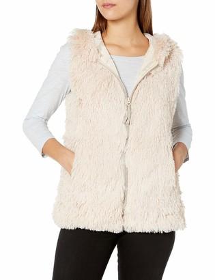 Angie Women's Faux Fur Zip Front Hooded Vest