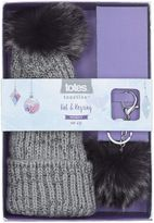 totes Sparkle Knit Hat and Key Ring Set