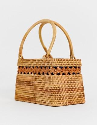 Asos Design DESIGN rattan structured basket bag-Brown