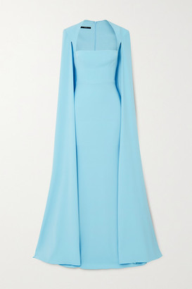 Alex Perry Mia Cape-effect Crepe Gown - Sky blue