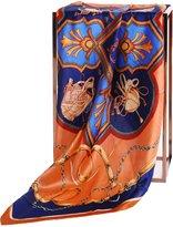 Grace Scarves 100% Silk Scarf, Large, Thoroughbred Belts & Chains, Orange & Blue