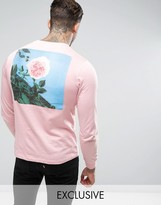 Hype Long Sleeve T-Shirt In Pink With Rose Back Print