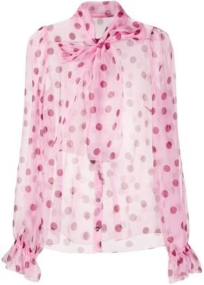 Dolce & Gabbana polka dot pussy bow blouse