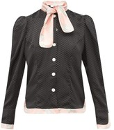 Edeltrud Hofmann - Mary Polka-dot And Floral-print Silk-satin Blouse - Womens - Black Pink