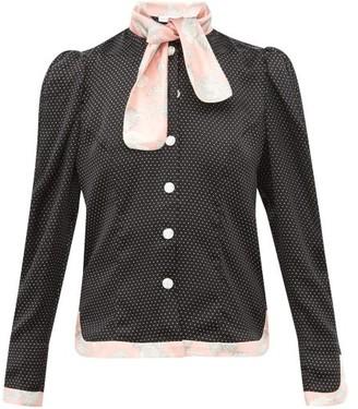 Edeltrud Hofmann - Mary Polka-dot And Floral-print Silk-satin Blouse - Womens - Black Pink