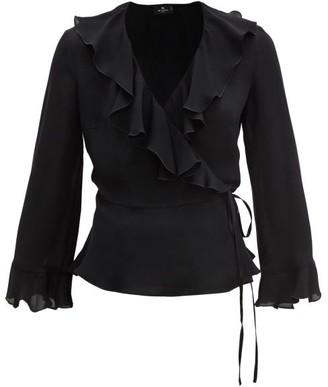 Etro Barb Flounced Silk-georgette Wrap Blouse - Black
