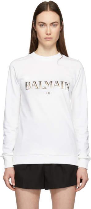 Balmain White and Gold Logo Sweatshirt