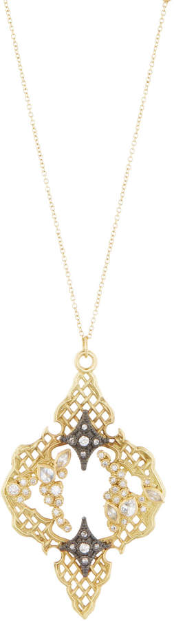 Armenta Old World 18k Mesh Crivelli Saddle Pendant Necklace w/ Diamonds