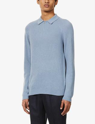 Reiss Aston zipped-neck stretch-woven jumper