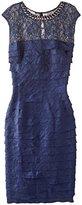 London Times Women's Beaded Necklace Shimmer Shutter Dress