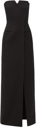 Givenchy Strapless Wool Grain De Poudre Gown - Black