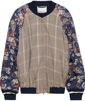 3.1 Phillip Lim Floral-print Twill-paneled Checked Satin Bomber Jacket