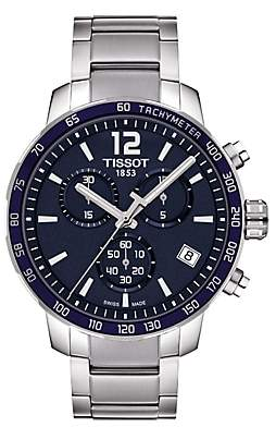 Tissot T0954171104700 Men's Quickster Chronograph Date Bracelet Strap Watch, Silver/Navy