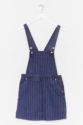 Nasty Gal Womens Be Stripe Back Denim Overall Dress - Blue