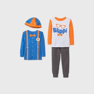 Toddler Boys' 4pc Blippi Pajama Set - Blue/Orange/Gray