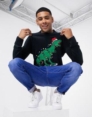 Brave Soul dinosaur Christmas sweater