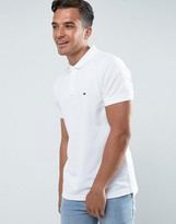 Tommy Hilfiger Luxury Pique Polo Tipped Slim Fit In White