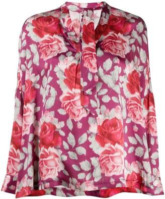 L'Autre Chose Floral-Print Tie Detail Shirt