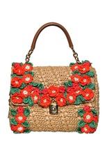 Dolce & Gabbana Crochet Raffia Dolce Bag Top Handle