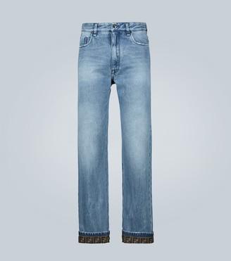 Fendi Denim FF logo cuffed jeans