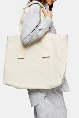 Topshop Ecru Organic Canvas Tote Bag