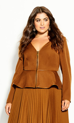 City Chic Sweet Plunge Jacket - copper