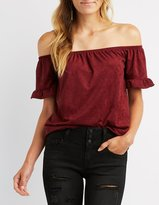 Charlotte Russe Faux Suede Ruffle Off-The-Shoulder Top