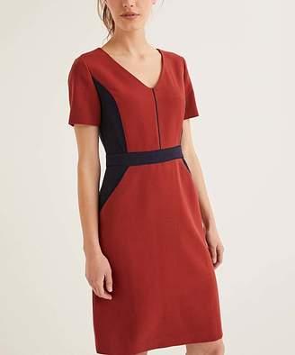 Boden Women's Casual Dresses Conker - Conker & Black Color Block Vicky V-Neck Dress - Women, Women's Tall & Petite