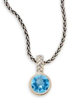 Effy Blue Topaz, Sterling Silver & 18K Yellow Gold Round Pendant Necklace