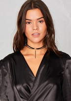 Missy Empire Eve Black Silver Pendant Double Faux Leather Choker