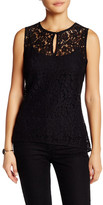 Ellen Tracy Keyhole Detail Lace Peplum Sleeveless Blouse