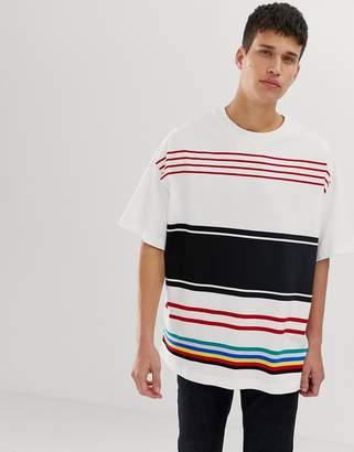 Benetton multi stripe t-shirt-White