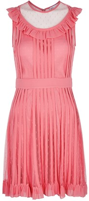 RED Valentino Pink ruffle-trimmed point d'esprit mini dress