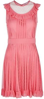 RED Valentino Pink Ruffle-trimmed Point D'esprit Mini Dress