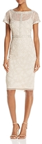 Aidan Mattox Short-Sleeve Beaded Dress