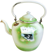 One Kings Lane Vintage 1920s Hand-Painted French Teapot - green/white/multi