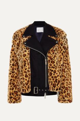 Sacai Wool And Leopard-print Faux Fur Biker Jacket - Leopard print