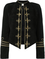 Saint Laurent military style blazer - women - Silk/Goat Skin - 36