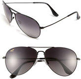Maui Jim Women's Mavericks 61Mm Polarizedplus2 Aviator Sunglasses - Glossy Black/ Neutral Grey