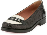 RED Valentino Patent-Trim Glitter Penny Loafer, Black/Ivory