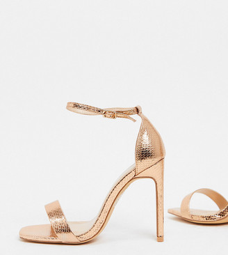 Glamorous Wide Fit heeled sandals with set back heel in rose gold