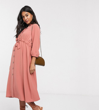 Asos DESIGN Maternity button through midi shirt dress with ruched waist in pink