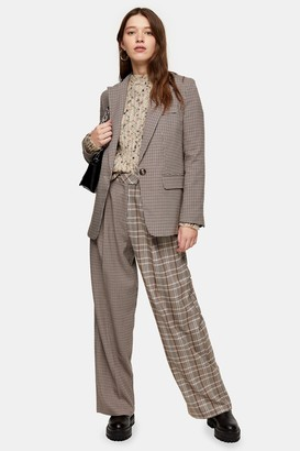 Topshop Womens Brown Mixed Check Slouch Trousers - Brown