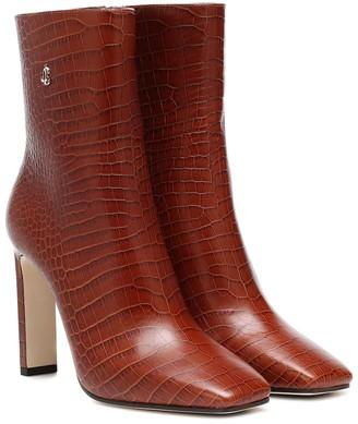 Jimmy Choo Minori 100 mock-croc leather boots