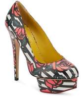 Charlotte Olympia Rose-Print Leather Platform Pumps