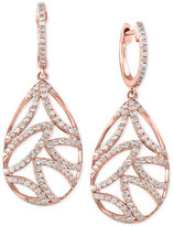 Effy Pave Rose By Diamond Leaf Drop Earrings (3/4 ct. t.w.) in 14k Rose Gold