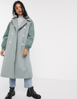 Asos DESIGN hybrid contrast stitch trench coat in sage