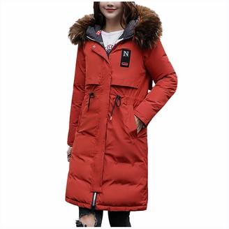 359 Women's Down Coat with Fur Hood Thicker Winter Slim Down Lammy Jacket Long Parka Puffer Jacket Red