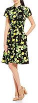 Leslie Fay Lemon-Print Shirt Dress