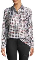 Burberry Sirena Two-Pocket Window-Check Silk Shirt